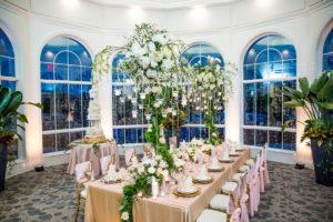 A wedding reception room.